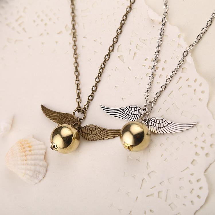 Golden Snitch Necklace Quidditch Fly Ball Antique Bronze Silver Wing Pendant Steampunk Vintage Movie Jewelry Men Women Wholesalemovie jewelryjewelry menjewelry wholesale -