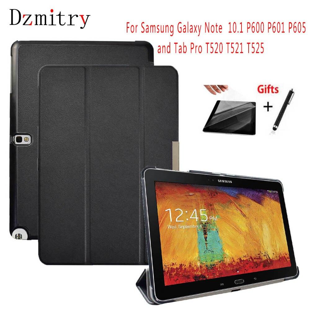 Fino PU De Couro Para Samsung Galaxy Note 10.1 2014 Edição SM-P600 P601 P605 607/Tab 10.1 pro T520 T521 t525 Tablet Case + Filme + Caneta