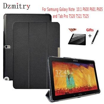 Szczupła PU skóra do Samsung Galaxy Note 10.1 2014 edycja SM-P600 P601 P605 607/Tab pro 10.1 T520 T521 T525 pokrowiec na tableta + Film + długopis