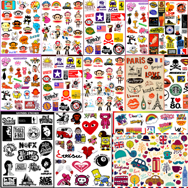 20/50/100 Black and White Vinyl Decal Stickers, Waterproof Stickers, Laptop