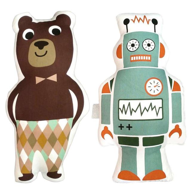 100% Marca New Children Bebê Robô/Desenhos Animados do Urso de Algodão PP Segura Toque Confortável Travesseiro de Decoração Para Casa Do Norte Da Europa