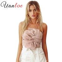 UANLOE Suede Crop Tops Women 2017 Spring Summer Off Shoulder Zipper Camisole Sleeveless Sexy Evening Party