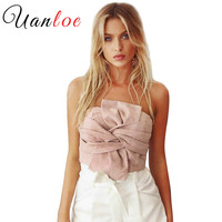 UANLOE Suede Crop Tops Women 2017 Spring Summer Off Shoulder Zipper Camisole Sleeveless Sexy Evening Party