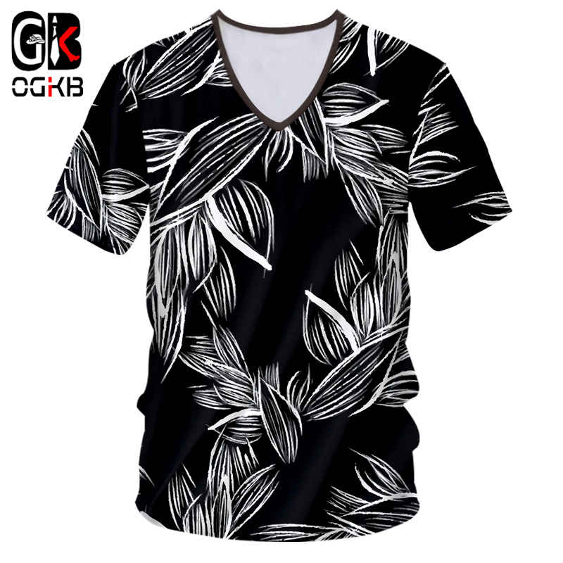 OGKB <font><b>Sexy</b></font> Style Leaves Plant Forest <font><b>3d</b></font> Print Tee Short Sleeve V Neck T-<font><b>shirt</b></font> Man/woman T <font><b>Shirt</b></font> Summer Causal Harajuku Unisex image