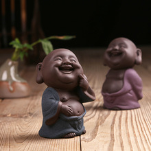 Dropship Chinese ceramic buddha statue Painted pottery tea pet home decor Decoration wholesale small monk