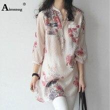 Aimsnug Vintage Elegant Stand Collar Seven-quarter Sleeve Button Flower Print Blouse Summer Autumn Women Casual Shirt Female Top