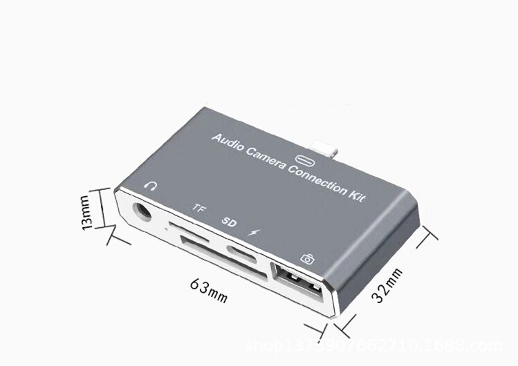 For IPhone 6 6S 7 7S Plus 8 8S Plus IPad Mini IPod Audio Camera Connection Kit OTG SD TF Card Reader Audio Adapter With Charging