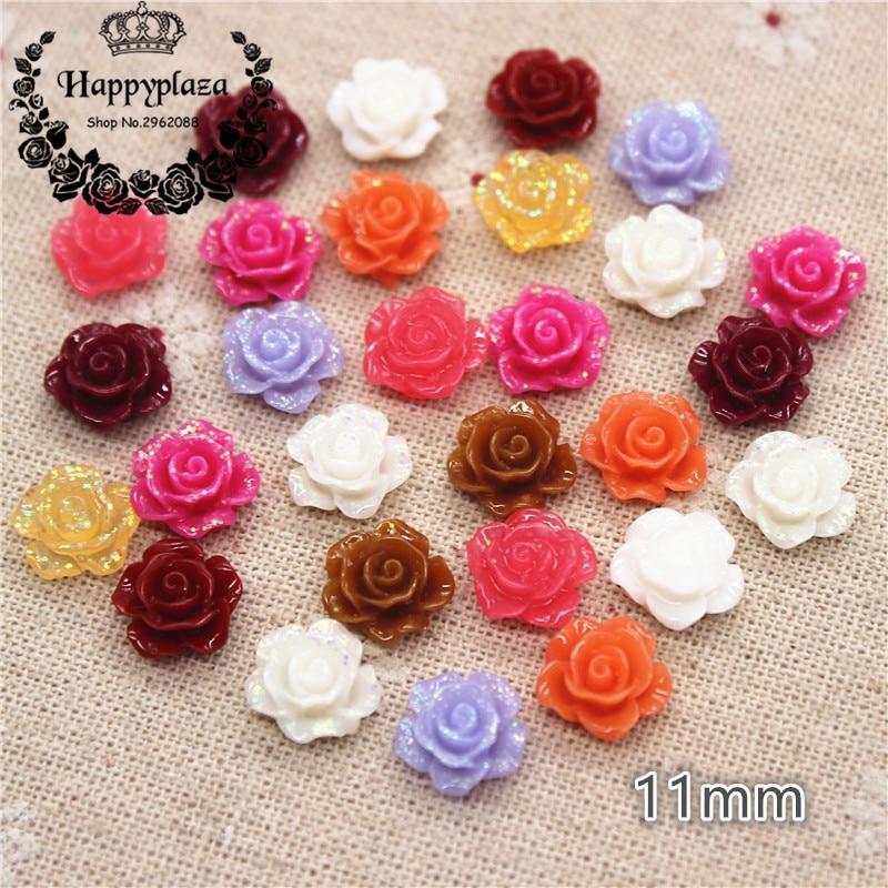 100pcs 11mm Mix Colors Glitter Resin Rose Flower FlatBack Cabochon DIY Scrapbooking Craft/Wedding Decoration