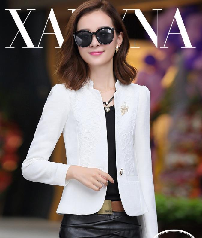 Neue Mode Sexy Sheer Spitze Patchwork Blazer Mantel Lady Anzug Outwear Frauen Ol Formale Dünne Jacke Schwarz Weiß Plus Größe Reine WeißE Anzüge & Sets