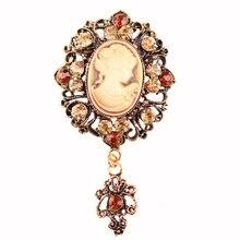 Brand Top Quality Fashion Vintage Charm Rhinestone Brooches Beautiful Cameo Lady Head Diamante Crystal Brooch Pins For Women