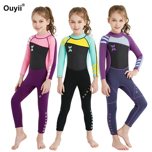 Girls One Piece Swimsuit Children Wetsuit Surf Suit Long Sleeve Swimwear  Kids Diving Suit Sunscreen Suit Anti-UV Swimming Suit b7ad35ceb