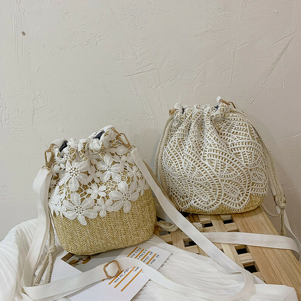 Lady Beach Bucket Straw Woven Women Bucket Handbag Summer Totes Shoulder Bag Printing Women Beach Bags Ladies Flower Bucket