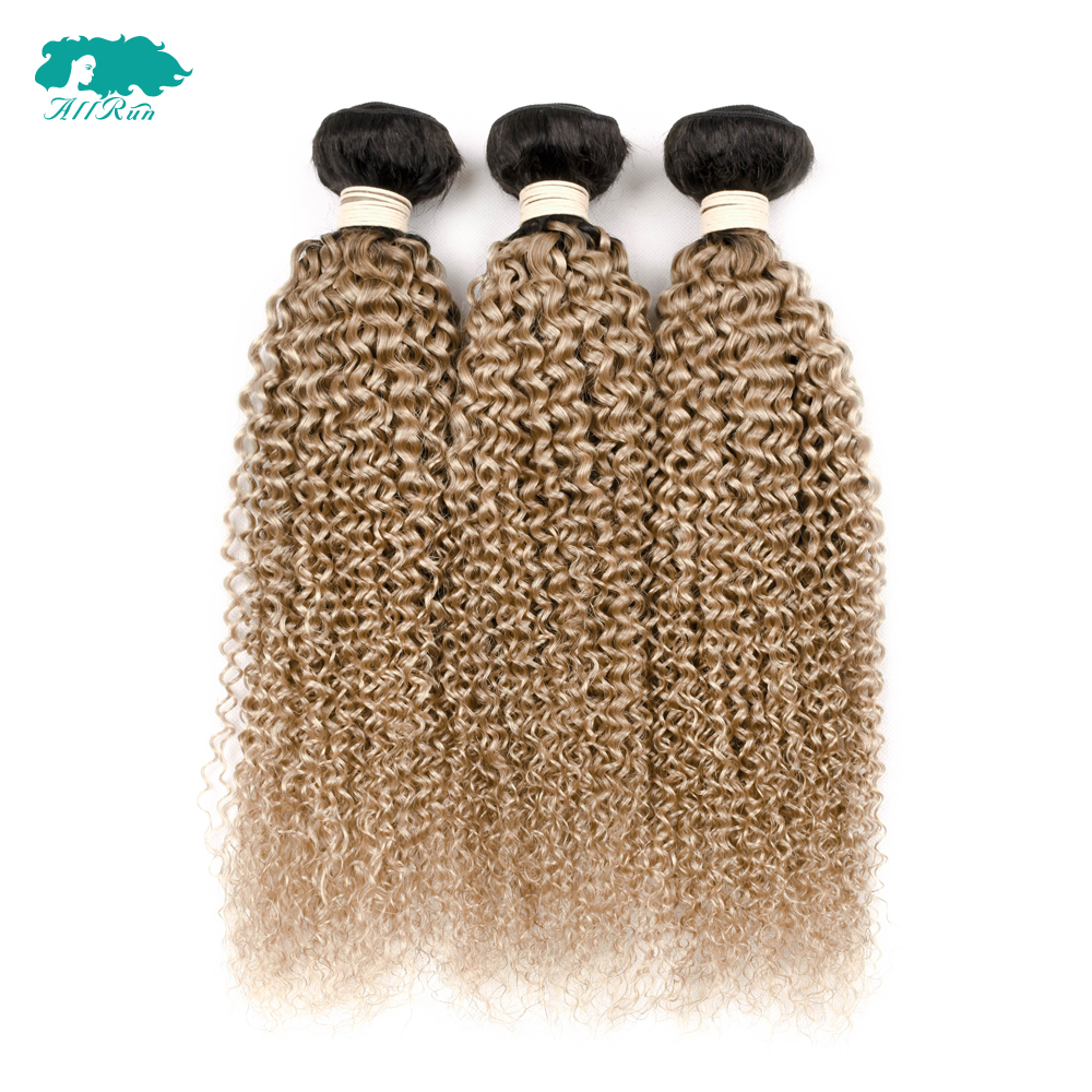 Allrun Peruvian Human Hair Bundles With C losure 3 Bundles Kinky Culry Hair Weave Bundles With Closure Ombre T1B/27 Remy Hair