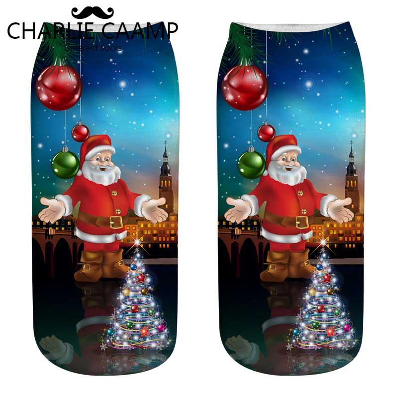 Charlie Caamp Alle Seizoenen 2018new Dames Polyester Dunne Sectie Kerst Patroon Trend Serie Vrouwen 3d Afdrukken Boot Sokken F206 We Nemen Klanten Als Onze Goden