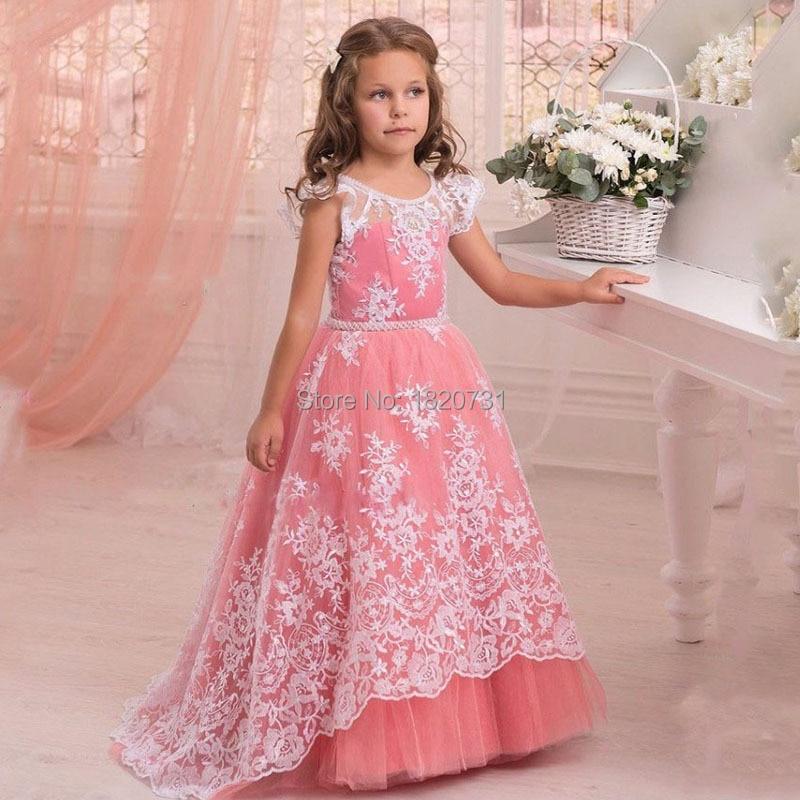 Manches en dentelle première sainte Communion robes enfants robes de soirée longueur de plancher petite robe de demoiselle d'honneur 2019 Blush rose robe de reconstitution historique