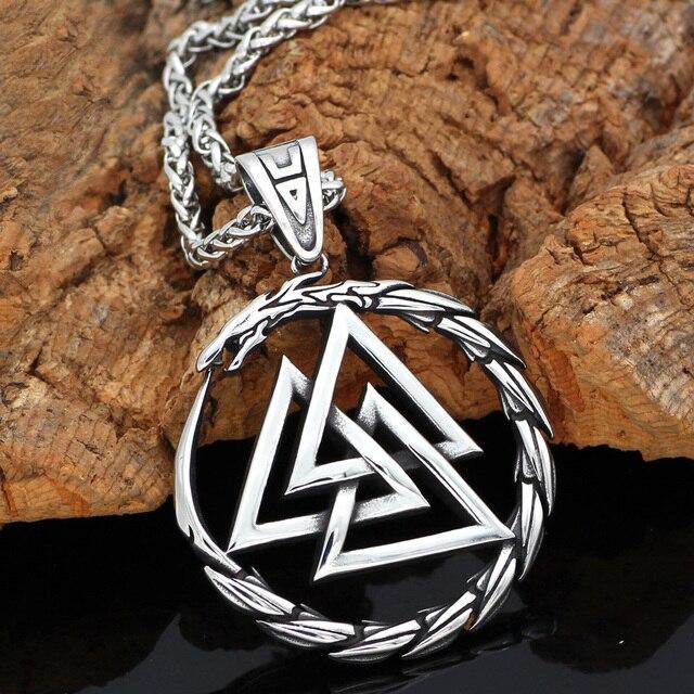 Men Stainless steel Viking Valknut Amulet dragon Pendant Necklace