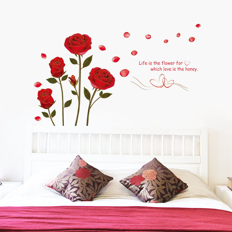 Cute Kawaii Flower Rose Removable Wedding House Background Home Decor Plastic Art Wall Stickers Decal Wallpaper For living Room