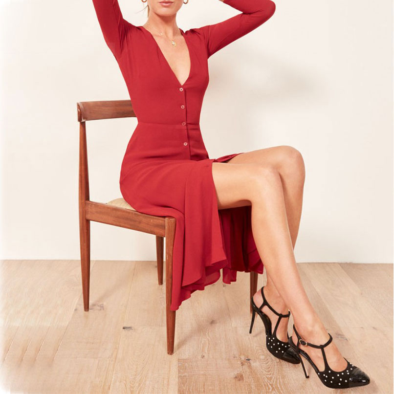 2019 printemps été femmes col en v Midi Robe rouge dames simple boutonnage Longue chemise robes Robe Longue Femme Ete