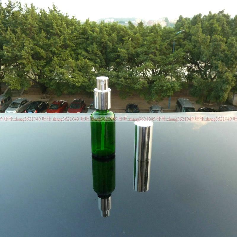 50 pcs 30 ml verde garrafa de vidro de perfume com pulverizador da nevoa de aluminio
