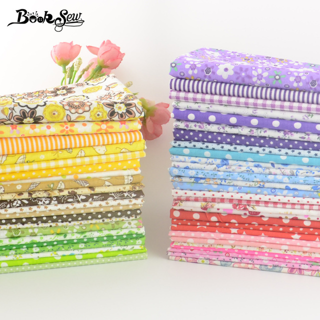 Booksew Cotton Fabric Square Packs No Repeat Flower Dot Plaid Mixed Patchwork Fabric Bundle For Sewing 50pcs/lot 20cm*25cm/piece