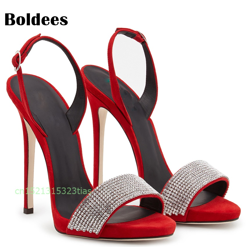 Red High Heel Sandals Women Shoes Ankle Strappy Sandals Summer Gladiator Open Toe Crystal Stiletto Sandal Shoes весы кухонные kenwood ds400