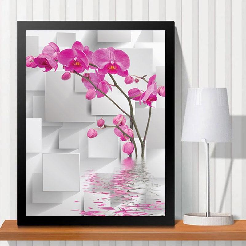 ∞Pink Phalaenopsis Home Decor Art Mosaics Wall Painting DIY Full ...