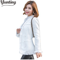 High Quality Tweed Jacket Ladies 2017 Runway Coat Spring Autumn Women Designer White Double Breasted Tassel