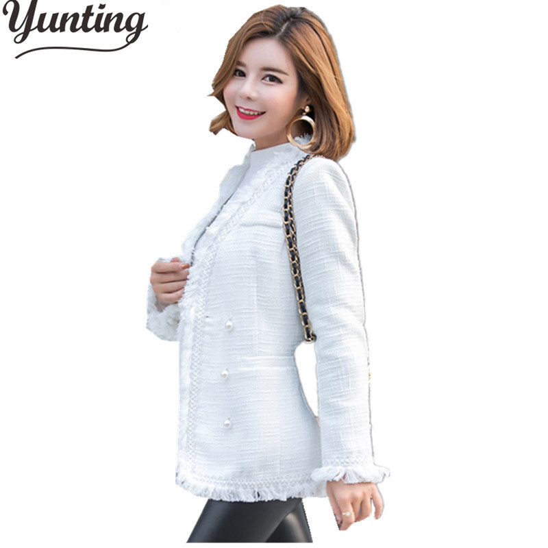 High Quality Tweed Jacket Ladies 2018 Runway Coat Spring Autumn Women Designer White Double Breasted Tassel Jackets Coats