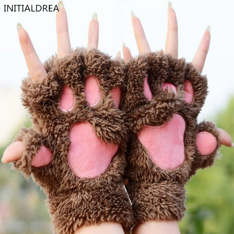 2018 hot sale winter women gloves fluffy bear paw claw. Black Bedroom Furniture Sets. Home Design Ideas