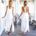 Sexy Halter Beach Dress 2015 Summer Style Lace Stitching Long Casual Dress Plus Size Loose Free Shipping Pure White