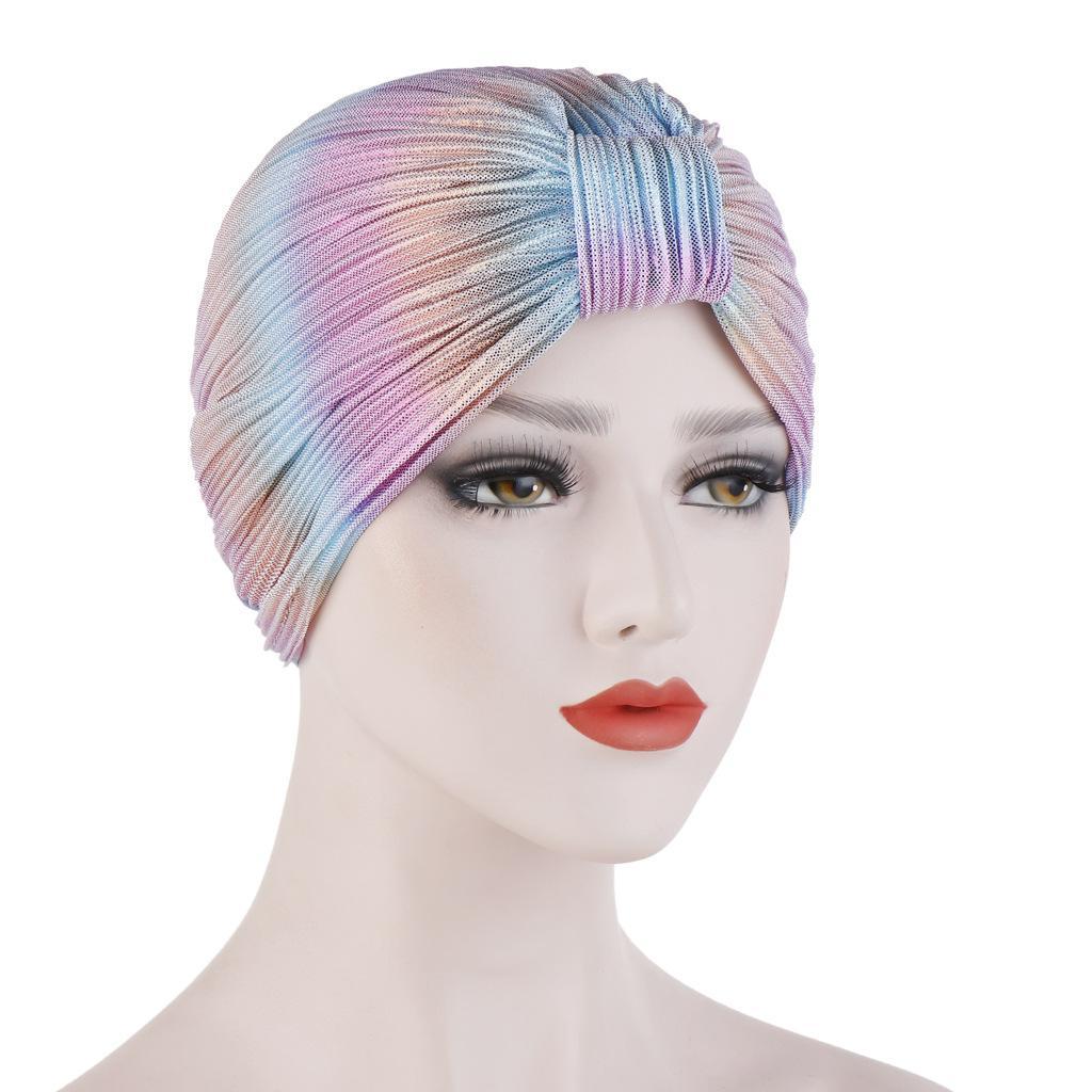 Image 2 - Индийский женский плиссированный головной шарф, шапка  мусульманский тюрбан, Chemo Turban Beanies, женские банданы, аксессуары  для волос, крышка капота, моднаяЖенские Skullies и шапочки   -