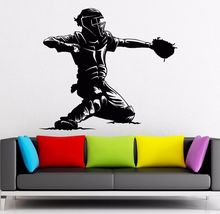 Home Art Mural Vinyl Baseball Catcher Player Wall Stickers Sports Man Fan Living Room Design Decor Y486