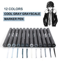 STA 12 Colors Grayscale Marker Pen Set Dual Head Art Markers Painting Set For Drawing Manga