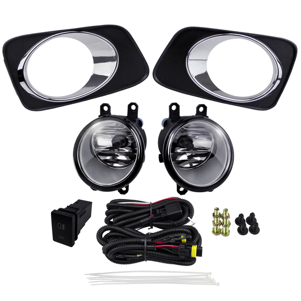 For Toyota Corolla Axio Fielder 2007 Fog Light Assembly Car Accessories Sets ABS Plastic 4300K Yellow 12V 55W Plating Cover front foglamp plating cover set for toyota corolla axio fielder 2007 abs 4300k yellow 12v 55w driving fog lights car accessories