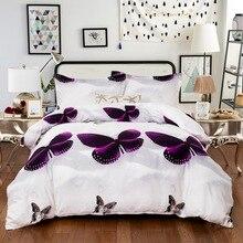 3D Bedding Set US Twin Full Queen King UK Double AU Single Size Purple Duvet Cover Pillow Cases Butterfly Bed Linen Set