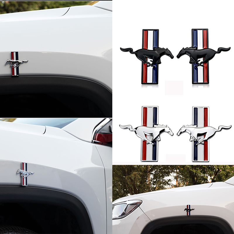 2pcs/lot Mustang 3D Metal Running Horse Emblem Car Door Body Badge Sticker Decoration for ford kuga fusion fiesta transit must карандаш для бровей revlon colorstay™ brow fantasy™ pencil