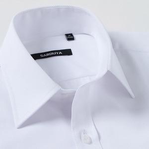Image 2 - クラシックメンズスプレッドの襟フレンチカフドレスシャツポケットレス設計標準フィット長袖ツイル宴会結婚式シャツ