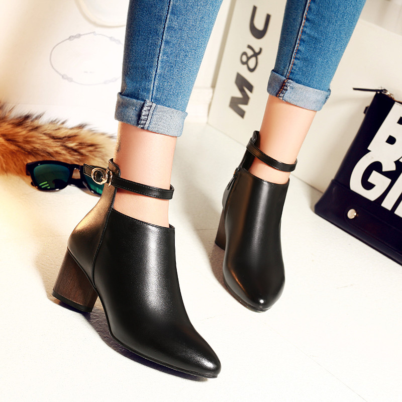 2016 Fall Winter Low Heel Ankle Boots Genuine Leather Ankle Buckle Short Booties Botines Botas Feminina Black Female Footwear