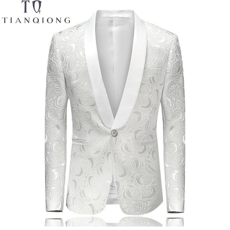 TIAN QIONG Blazer Men 2018 Slim Fit Mens Floral Blazer Stylish Shawl Collar Suit White Wedding Blazers for Men Stage Wear