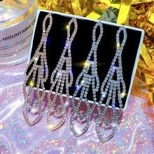 Korean Handmade Silver Needle Anti-allergy Geometric Rhinestone Drop Dangle Earrings Fashion Jewelry-BYD5