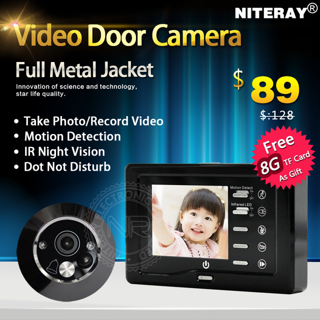Hot Sales!! Motion Detect Front Door Camera Video Peephole Door Viewer Door Bell Take Photo/Video With IR Night Vision