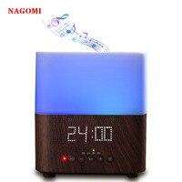 300 ML Ultrasonic Aroma Difusor Óleo Essencial Umidificador de Ar Bluetooth Speaker Alarm Clock Com 7 Cor Night Light Para Home|Umidificadores| |  -