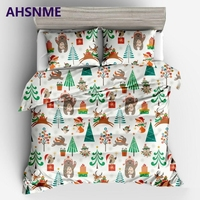 AHSNME Christmas theme pine and deer Quilt cover pillowcase Europe Australia United States Multi size Bedding set King Quilt Set