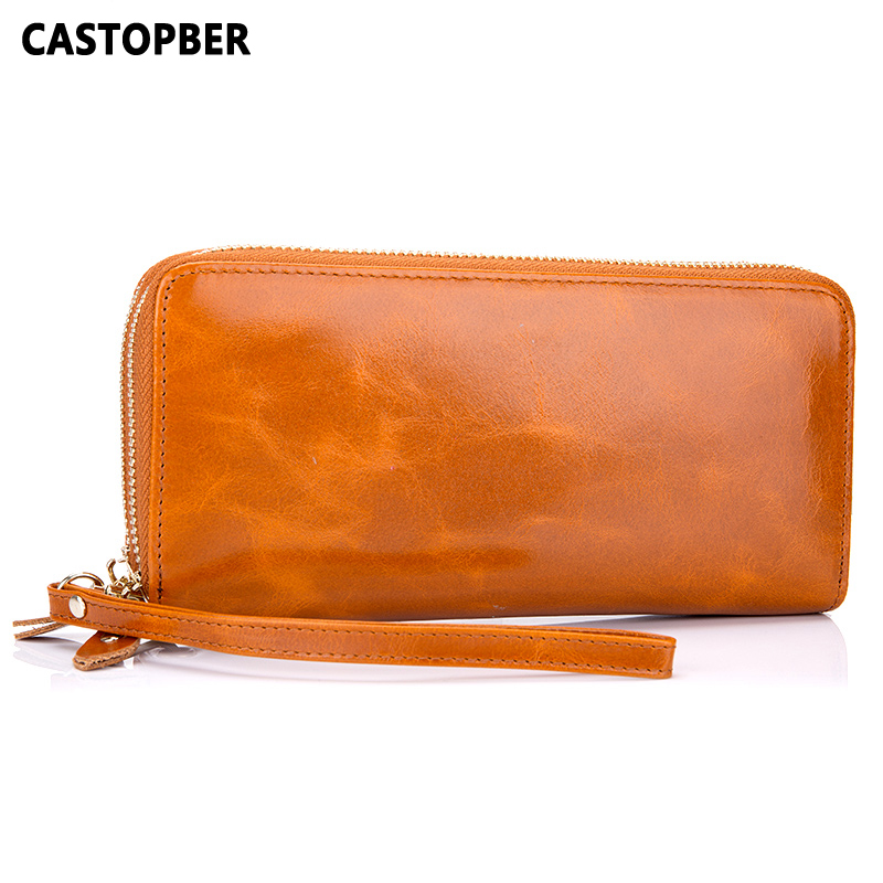 Genuine Leather Oil Wax Women Wallet Ladies Day Clutches With 2 Zipper Cowhide Leather Long Purse Female Wallets Designer Famous new designer woman oil wax genuine leather bag cowhide fashion day clutches long purse female ladies handbag for men famous bags
