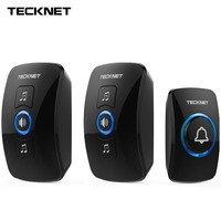 TeckNet Wireless Doorbell Remote IP33 Waterproof Cordless Door Bell Chime Kit With LED Light Operating 250M