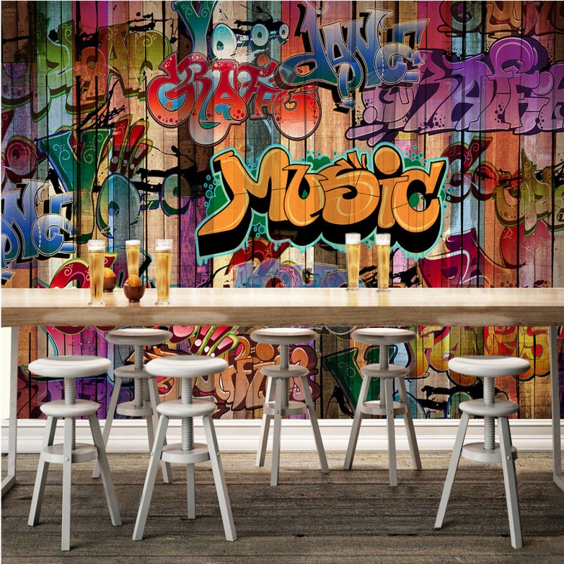 Free Shipping Graffiti Painting Wall Background bedroom living room mural lobby restaurant office high quality wallpaper  free shipping basketball function restaurant background wall waterproof high quality stereo bedroom living room mural wallpaper