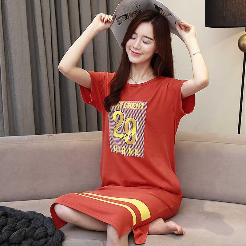 Новинка лета 35%, хлопковые рубашки для сна с круглым вырезом для девочек, женская ночная рубашка для сна с рисунком, ночная рубашка, ночная рубашка, одежда для сна, ночные рубашки