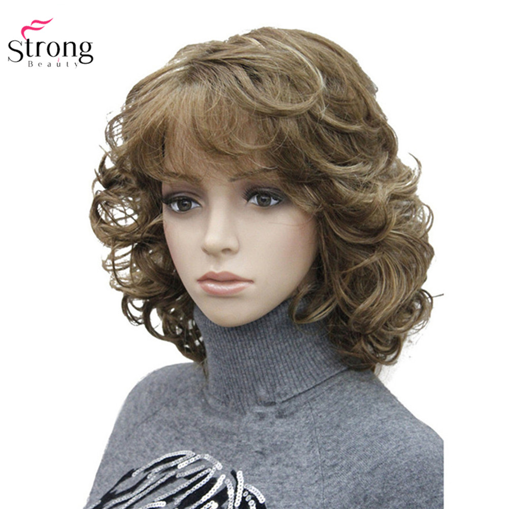 StrongBeauty Women's Synthetic Wigs Natural Curly Wig Medium Black/Blonde Hairpiece Hair Wig