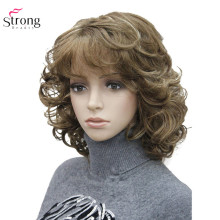 StrongBeauty Womens Synthetic Wigs Natural Curly Wig Medium Black/Blonde Hairpiece Hair Wig