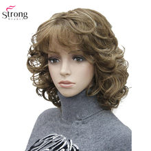 Strongbeauty perucas sintéticas das mulheres natural encaracolado peruca de cabelo médio preto/loiro